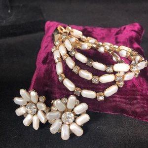 LERU Vintage 3 Strand Clasp Bracelet & Earring Set